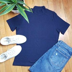 Lalique - Navy Ribbed Mockneck Short Sleeve Shirt